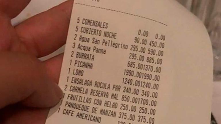 Tuiteó el ticket de una cena por 9300 pesos y se armó el debate en redes