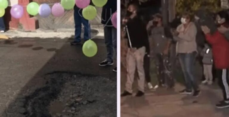 """Insólito: vecinos le hicieron el """"cumple de 15"""" a un bache"""