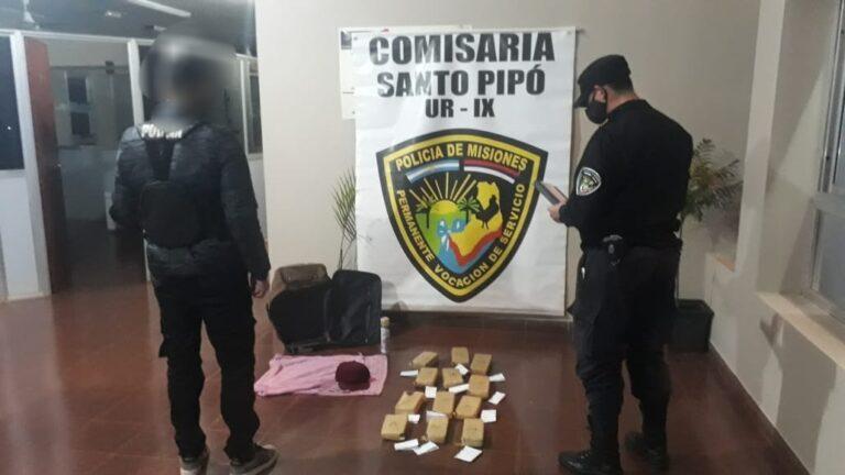 Secuestraron un bolso con marihuana dentro de un colectivo en Santo Pipó